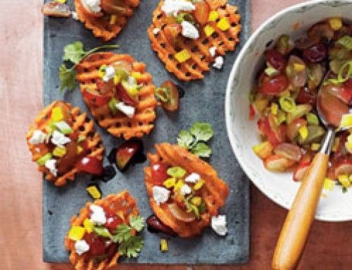 Sweet Potato Crostini with Goat Cheese and Grape Salsa