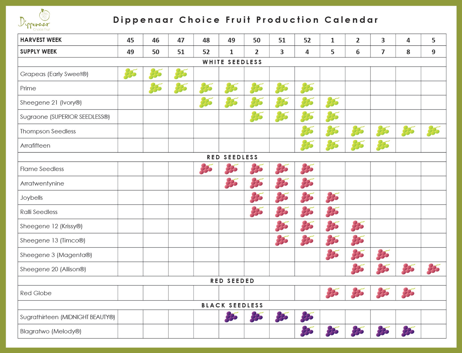 Dippenaar Choice Fruit Production Calendar